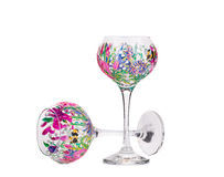 Two handmade beautiful wine glasses. Royalty Free Stock Photo