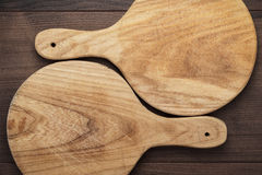 Two handmade breadboards on table Royalty Free Stock Photography