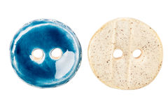 Two handmade ceramic buttons Royalty Free Stock Photo