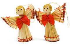 Two Handmade Christmas Decoration Angels Stock Photo