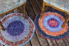 Two handmade colorful rugs Royalty Free Stock Photo