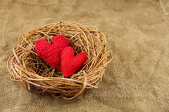 Two handmade hearts in the nest stock photo