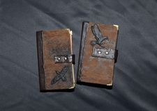 Two handmade notebooks with ravens Royalty Free Stock Photography