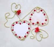 Two handmade paper heart. Top view Stock Photography