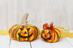 Two handmade smiling Halloween pumpkins Stock Photo