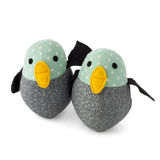 Two handmade textile toy birds  on white. Two handmade textile, turquise, yellow, black and gray toy birds  on white Royalty Free Stock Photo