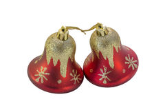Two handpainted sparkly red and gold holiday bells Royalty Free Stock Photo