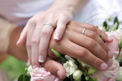 Two hands. With flower on wedding Royalty Free Stock Photos
