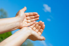 Two hands. Against the blue sky Stock Image