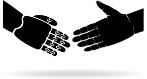 Two Hands. Two black hands, human and the robot, illustration Royalty Free Stock Image