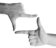 Two hands. Black and white,put whatever you want in the empty space Royalty Free Stock Photo