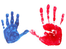 Two hands. Image of a print of two hands on a white background Stock Photos