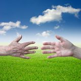 Two hands stock photography