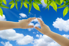 Two hands against blue sky with clouds Royalty Free Stock Images