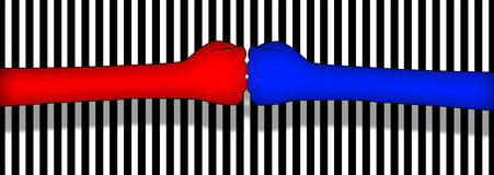 Two hands against each other. Illustration of two hands against each other represent competiton Royalty Free Stock Photos