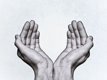 Two hands ask for help. Black and white image on scratched background royalty free stock photography