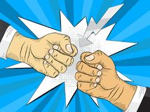 Two hands in bumping together, fighting gesture. Two hands in air bumping together, punching label, fighting gesture, vector illustration Royalty Free Stock Images