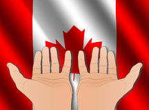 Two hands with Canadian flag Stock Images
