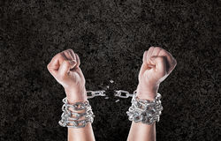 Two hands in chains Royalty Free Stock Image