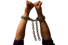 Two hands in chains. Isolated.  White background Royalty Free Stock Images