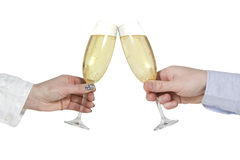 Two hands with champagne glasses Royalty Free Stock Images