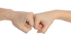 Two hands clashing together Royalty Free Stock Photo