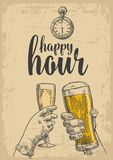 Two hands clink a glass of beer and a glass of champagne. Vintage vector engraved drawn illustration for web, poster Royalty Free Stock Photos
