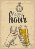 Two hands clink a glass of beer and a glass of wine. Drawn design element. Vintage vector engraved illustration for web Stock Photo