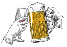 Two hands clink a glass of beer and wine. Stock Images