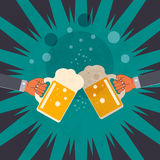 Two hands clink glasses with beer Royalty Free Stock Photos
