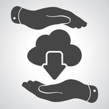 Two hands with cloud computing download icon Royalty Free Stock Photos