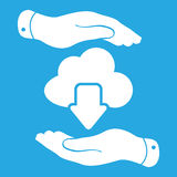 Two hands with cloud computing download icon Stock Photos