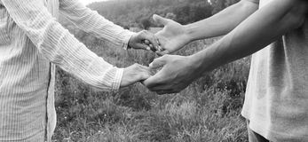 Two hands couple of love. On nature royalty free stock photo
