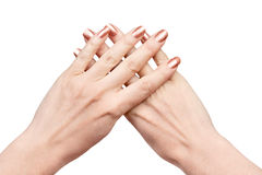 Two hands with crossed fingers Royalty Free Stock Image