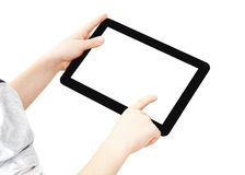 Two hands with digital tablet. Angle view of two hands with Tablet PC, finger pointing, isolated on white, clipping path Stock Photography
