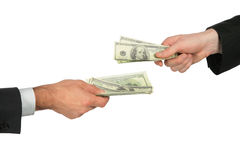 Two hands with dollars Royalty Free Stock Photos