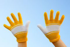 Two hands dressed in gloves Royalty Free Stock Image