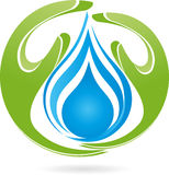 Two hands, drops, water, nature, logo. Two hands and drops, water and nature logo Royalty Free Stock Images