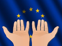 Two hands with EU flag Royalty Free Stock Photography