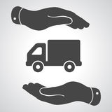 Two hands with flat truck pictogram Stock Image