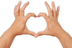 Two hands in form of heart (Clipping path) Royalty Free Stock Images