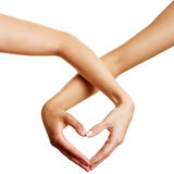 Two hands forming a heart Stock Image