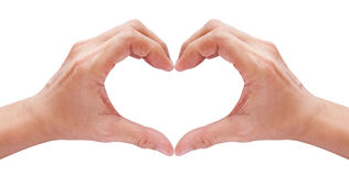 Two hands forming a heart on white Stock Photos
