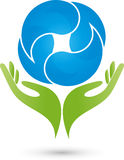 Two hands and four drops, wellness logo. Two hands and four drops, wellness and curative therapist logo Stock Images