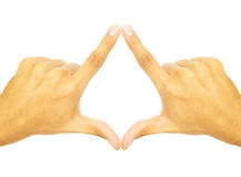 Two hands fused together to form a symbol. On white background Royalty Free Stock Image
