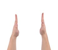 Two hands gesture showing the size. Royalty Free Stock Photo