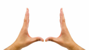 Two hands gesturing the rectangle Stock Photo
