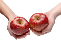 Two hands give each other an apple Royalty Free Stock Images