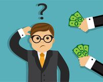 A man thinks to take a bribe Royalty Free Stock Photos
