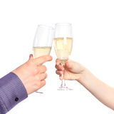 Two hands with glasses of champagne. Dating Stock Photography